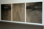 "Amie Rangel, ""Acclimation"" Triptych, 2008, Charcoal and pastel on linen"